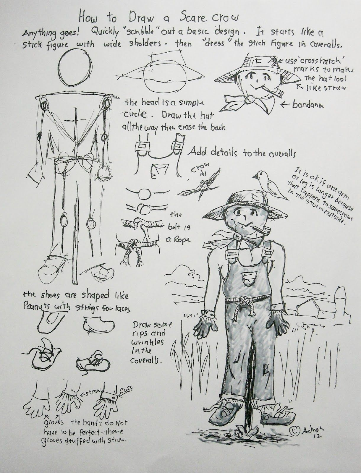 How To Draw A Scarecrow Man Worksheet