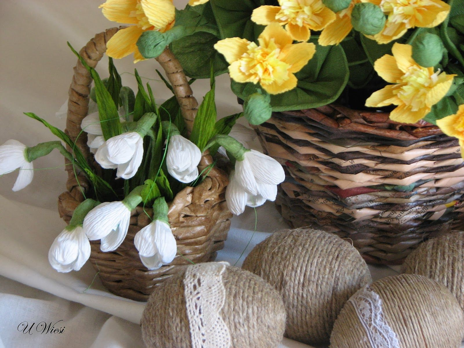 paper basket, crepe paper flowers