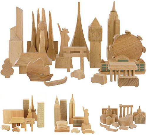 by muji are wooden blocks wonderfully carved as cityscapes