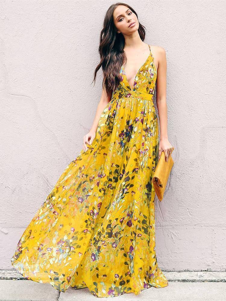1ac3723cef482 Bohemia V-Neck Backless Maxi Dress | Oshoplive #Maxi Dresses ...