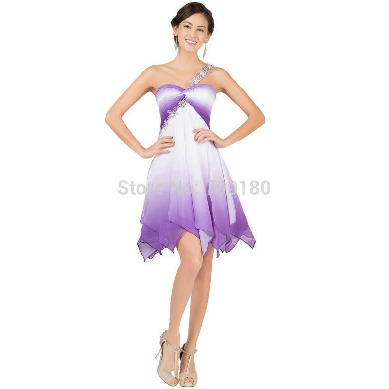 Grace Karin New Chiffon High Low Prom Dresses 2015 One Shoulder Robe ...