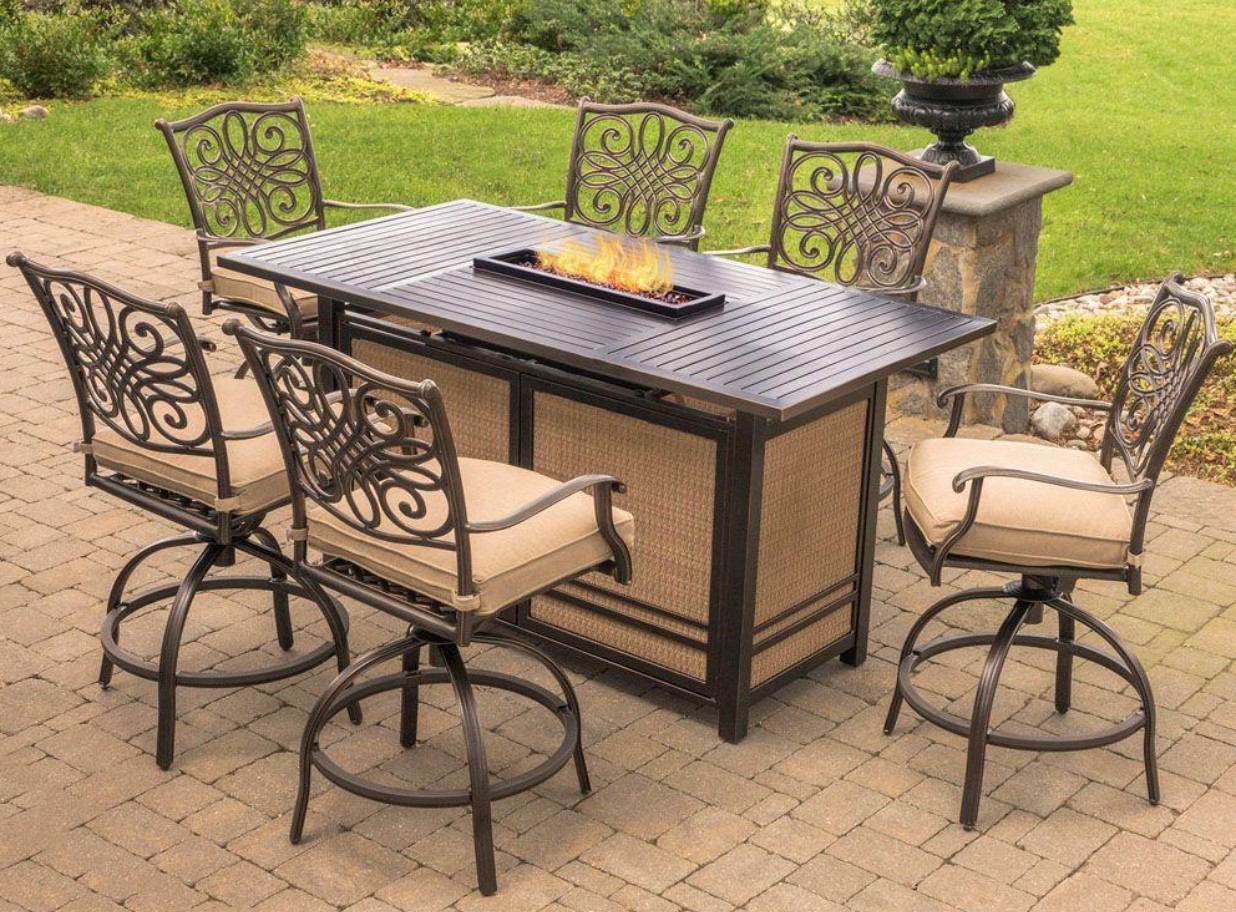 Hanover Trad7pcfpbr Traditions 68 54 7 Piece High Dining Set With 30 000 Btu Fire Pit Table Rectangular Fire Pit Fire Pit Sets Fire Pit Dining Set