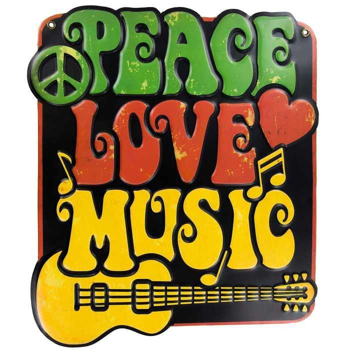 Peace Love Music Embossed Metal Sign | Wall Signs | Pinterest ...