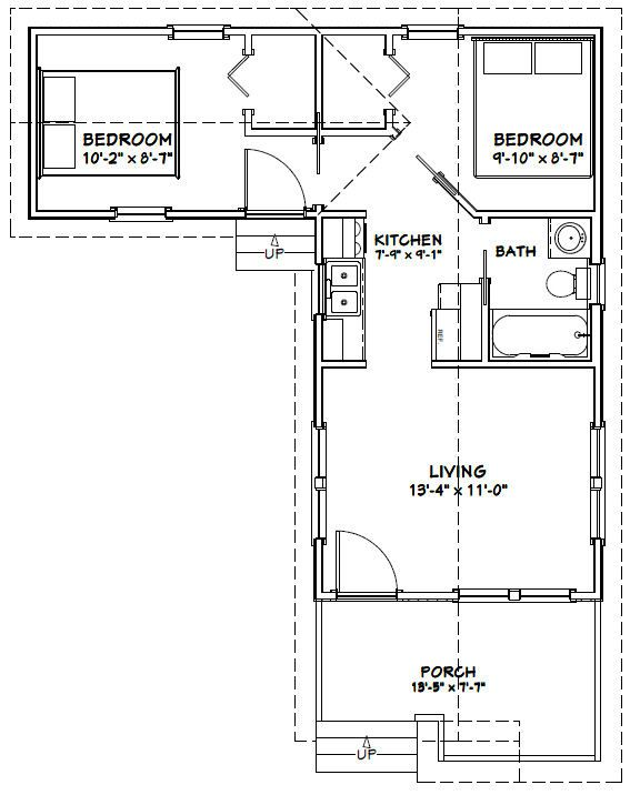 14x28 tiny house 14x28h1f 521 sq ft excellent for L shaped log cabin floor plans
