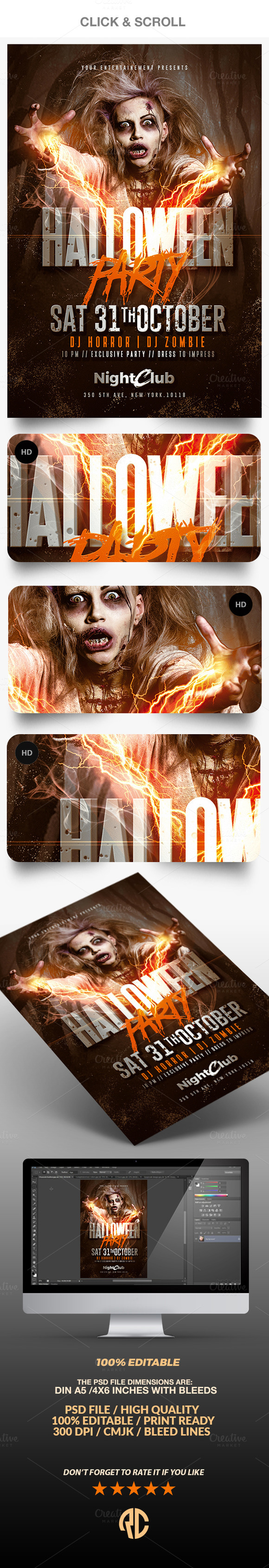 Halloween Party | Zombie Flyer | Halloween party flyer, Party flyer ...