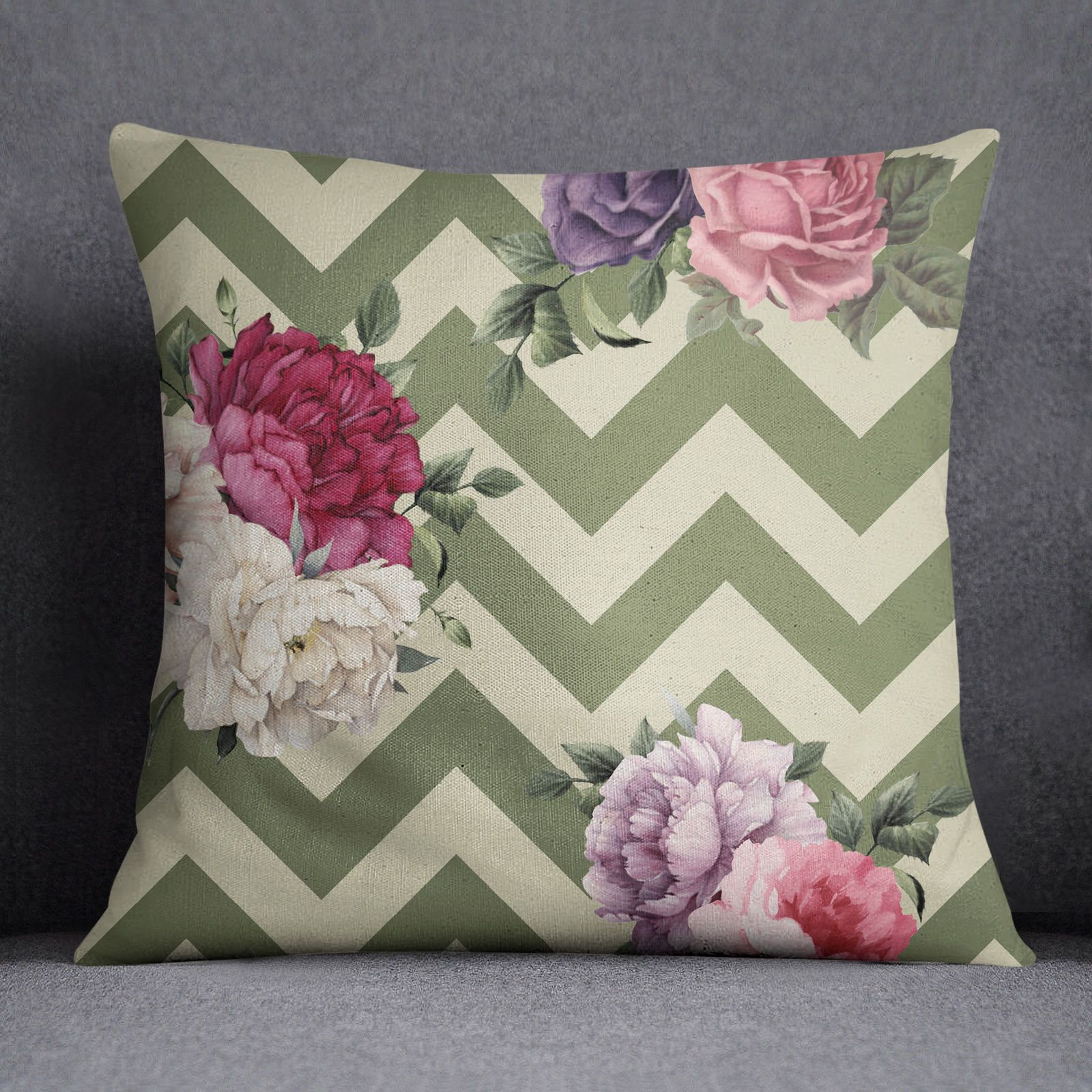 Ssassy sofa cushion cover green zigzag u floral print pillow case