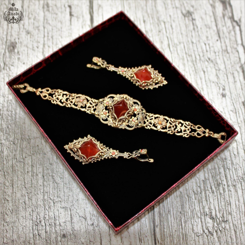 5cce2f18442b Комплекты украшений ручной работы. Ювелирный комплект браслет серьги с  сердоликом Карнелиана. Эксклюзивные ювелирные украшения
