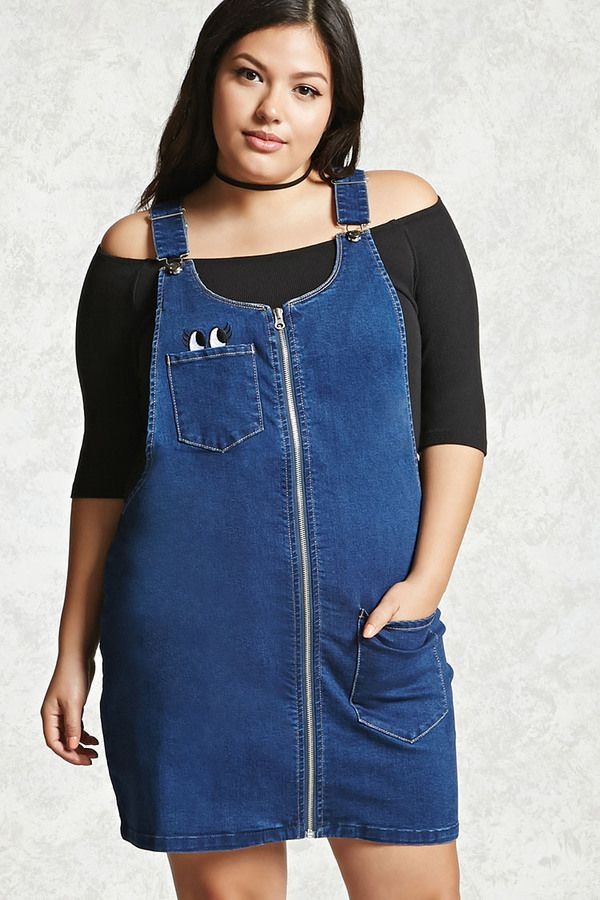 FOREVER 21+ Plus Size Denim Overall Dress | Overalls fashion ...