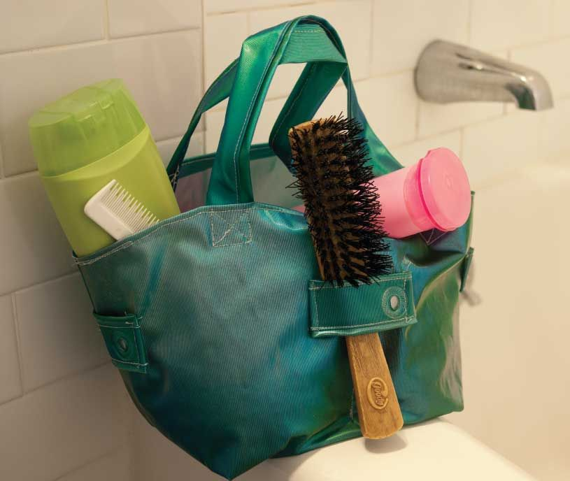Try This: Shower Curtain Caddy   Bath caddy, Sewing projects and Reuse