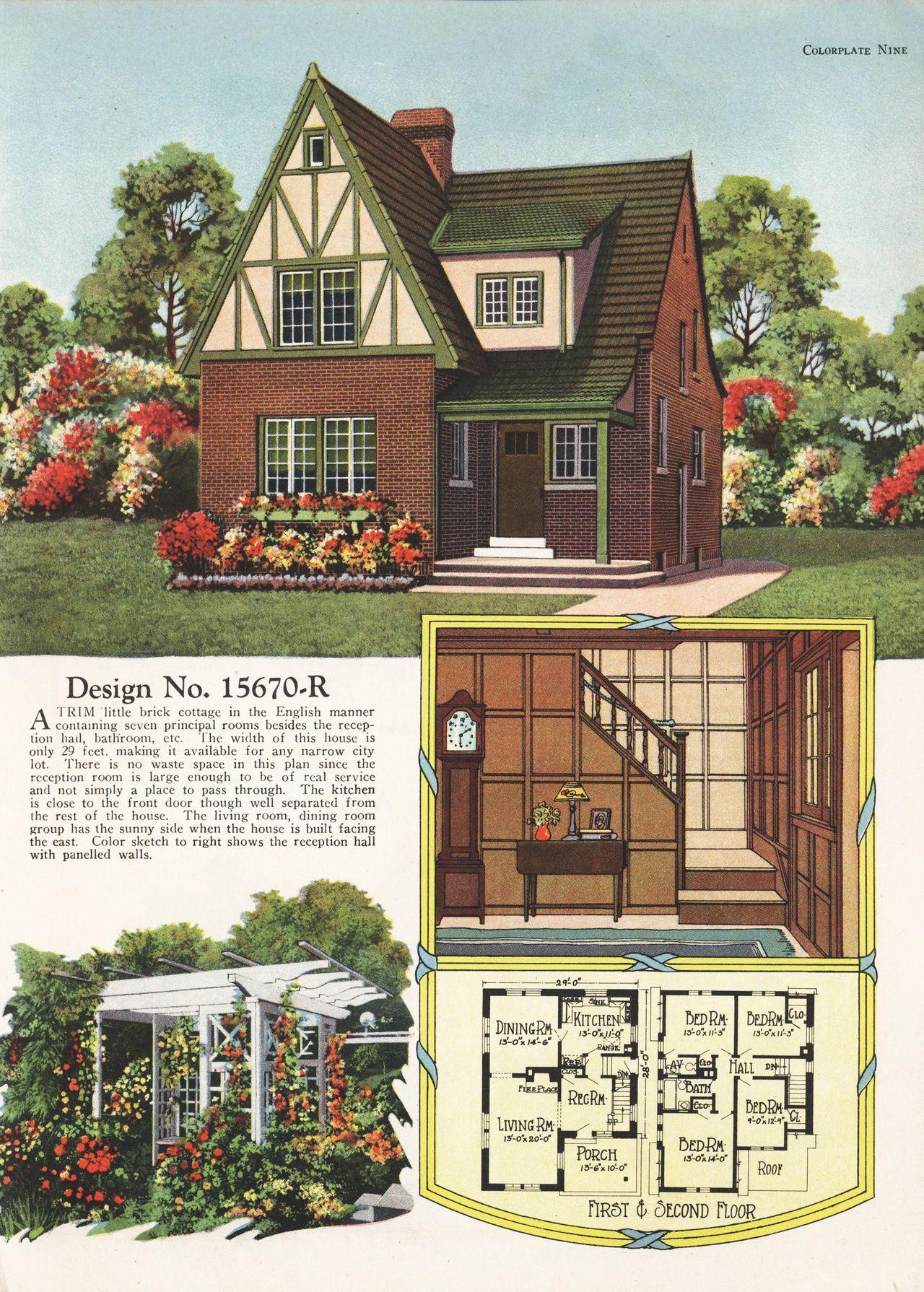 United States 1927 Design No 15670 R A Vintage Home Plan Vintage House Plans Sims House Design House Blueprints