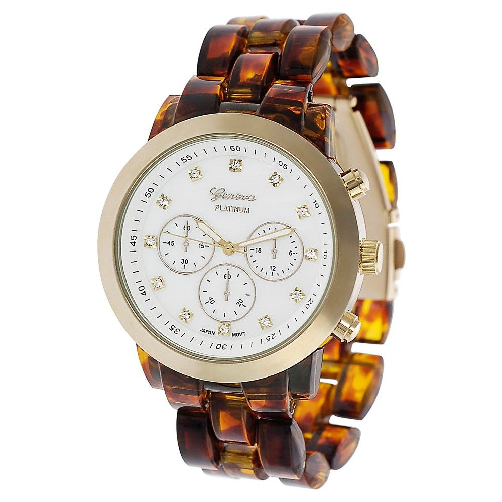 Women's Geneva Platinum Round Face Rhinestone Accent Mother of Pearl Acrylic Link Watch - Tortoise, Black