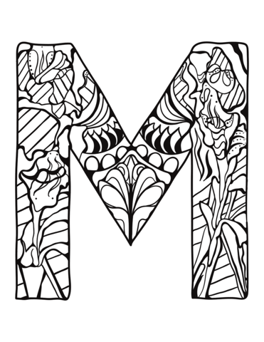 Letter M Zentangle Coloring Page From Zentangle Alphabet Category Select From 3 Alphabet Coloring Pages Free Printable Coloring Pages Printable Coloring Pages