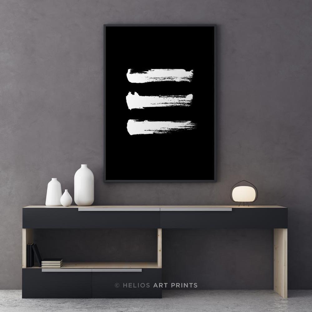 Minimalist Black And White Brushstroke Wall Art 3 Horizontal Etsy Minimalist Wall Art Giclee Abstract Black And White Wall Art