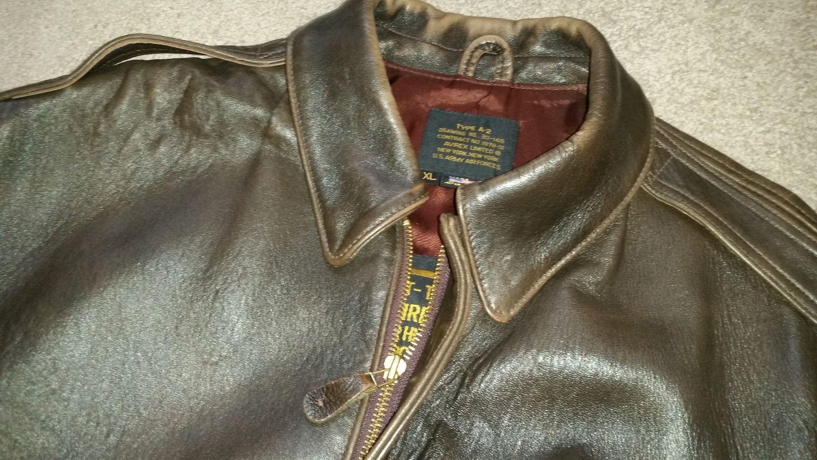 Leather jacket xl size - Avirex Mens Brown Leather A 2 Flight Bomber Jacket Size Xl