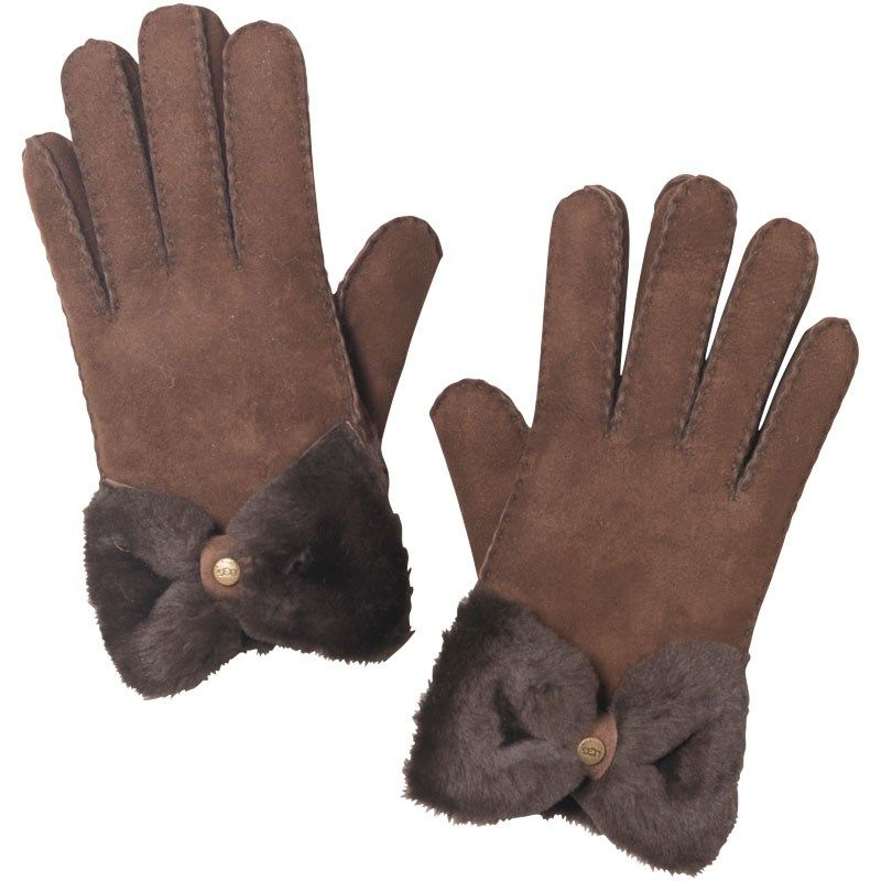 Ugg Womens Classic Bow Shorty Gloves Chocolate £59.99