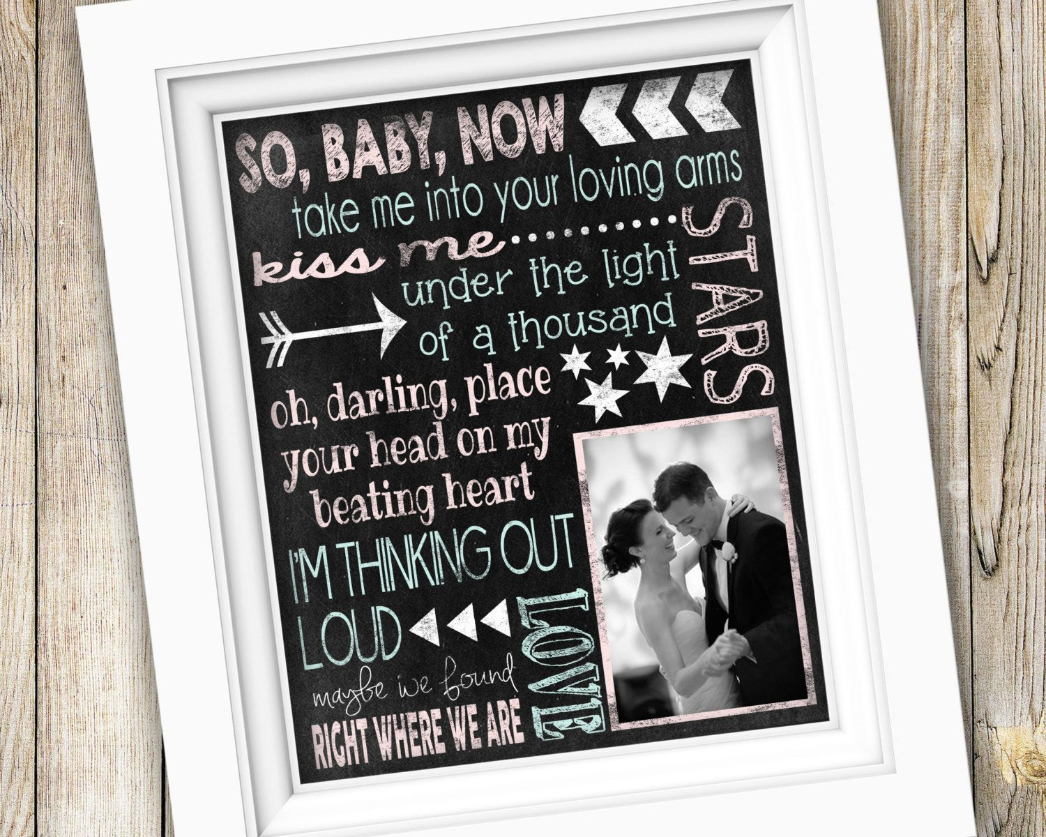 First Dance Wedding Song Lyrics Gift Printable Anniversary Or Thinking Out Loud Digital Jpeg File By Subwaystyle On