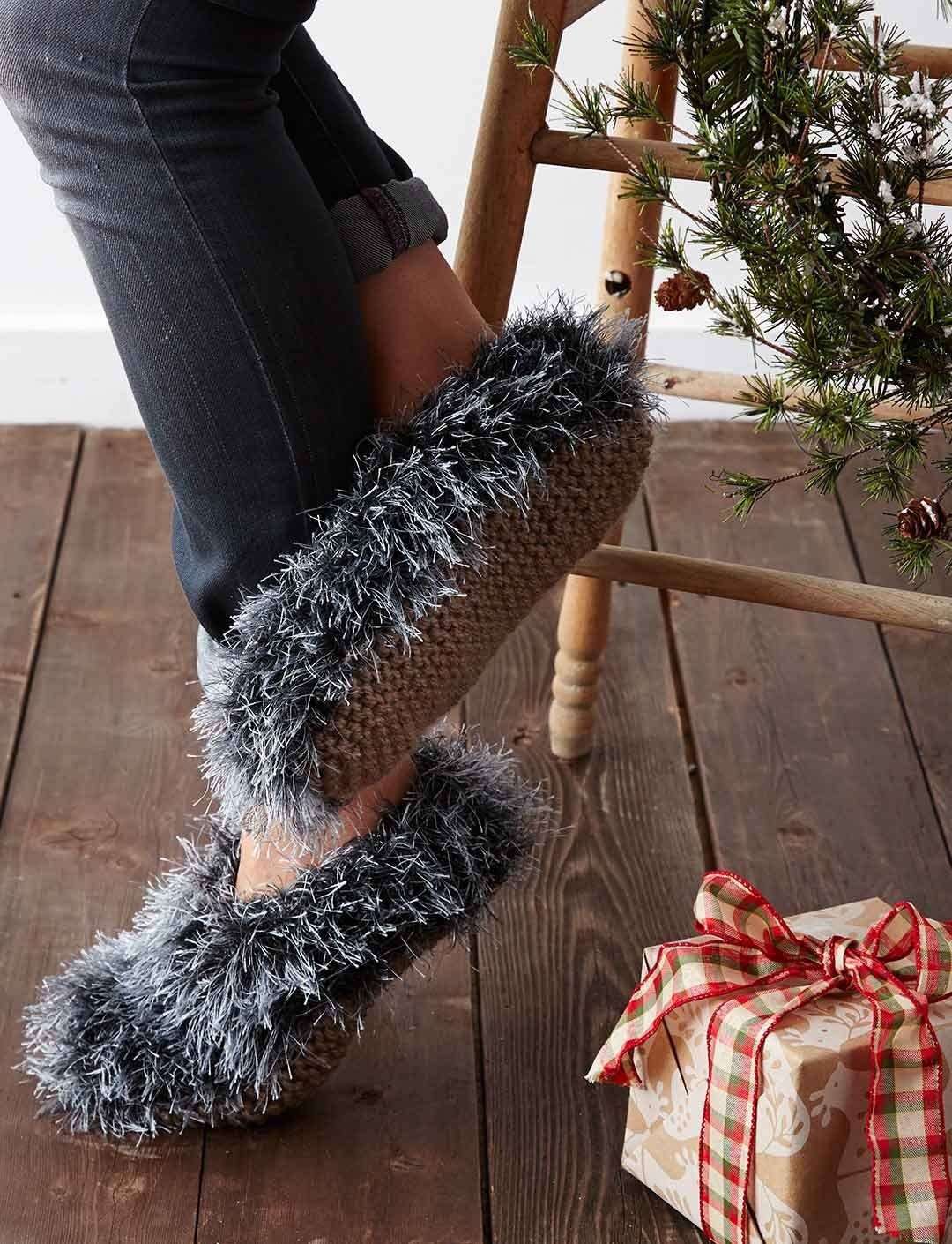 Yarnspirations.com - Patons Fuzzy Slippers - free knit pattern ...