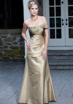 Teffeta escote palabra de honor una línea de vestidos madre novia