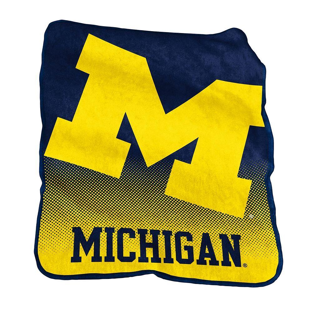 Logo Brand Michigan Wolverines Raschel Throw Blanket, Blue
