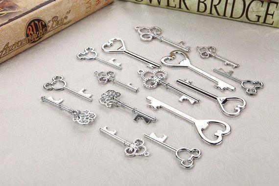 40pcs Assorted Bottle Openers Silver Key Shaped Wedding