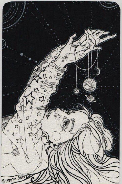 beauty, girl, imaginacion, planets, space