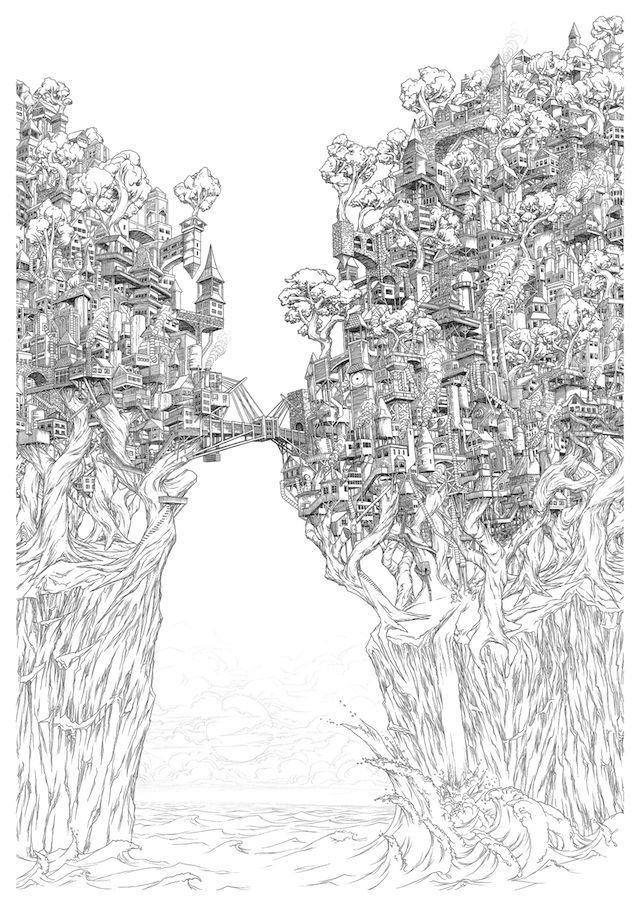 These Intricate Island Castle Drawings Will Make You Dizzy | The Creators Project
