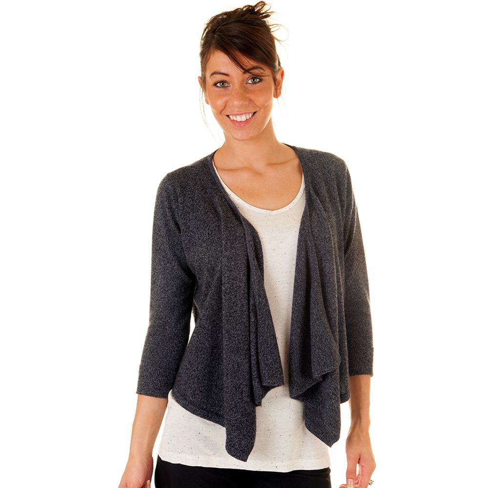 Ladies Grey Marl Cashmere Waterfall Drape Cardigan £99.00 ...