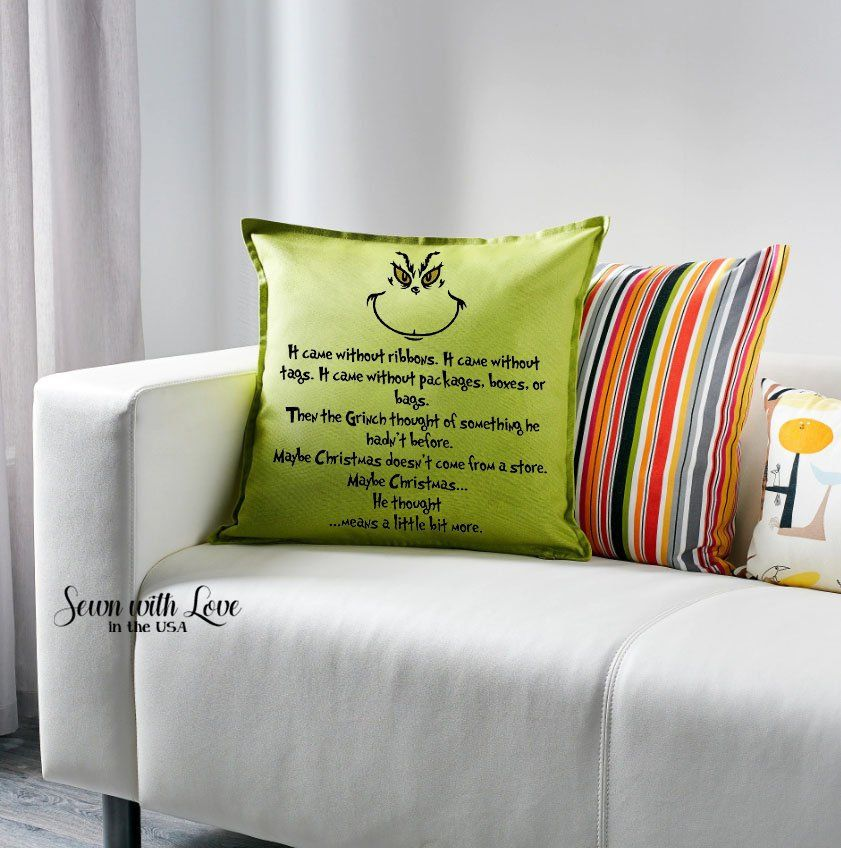 Grinch Pillow Grinch Pillow Cover Without Ribbons How The