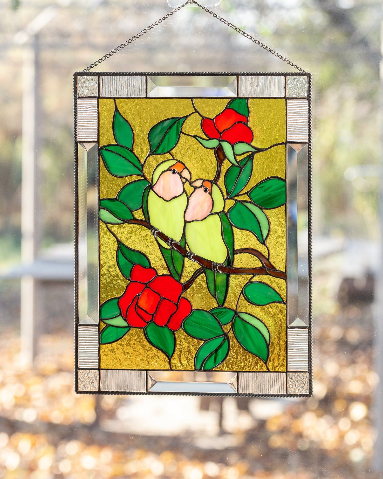 Lovebirds Stained Glass Window Panel Parrot Art Custom Stained Etsy Stained Glass Window Panel Stained Glass Window Hanging Stained Glass Birds