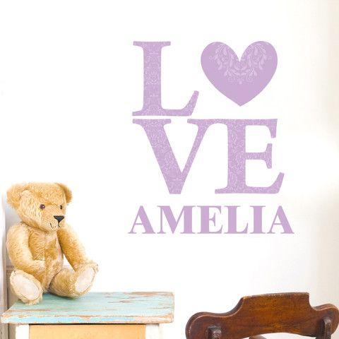 Personalised Wall Stickers UK - Personalised Lilac LOVE Wall Art - .vivabop.co  sc 1 st  Pinterest & Personalised Wall Stickers UK - Personalised Lilac LOVE Wall Art ...