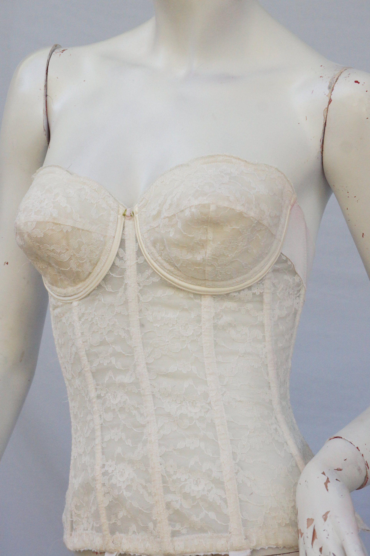 7eb7e0d2411 Vintage 60s Strapless White Lace Corset/Bustiere/Lingerie/Wedding ...