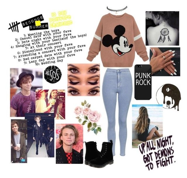 """Causal date with Ashton❤️❤️❤️❤️❤️"" by morganrichards ❤ liked on Polyvore featuring beauty, Topshop, Dr. Martens, Wet Seal and Unholy Matrimony"