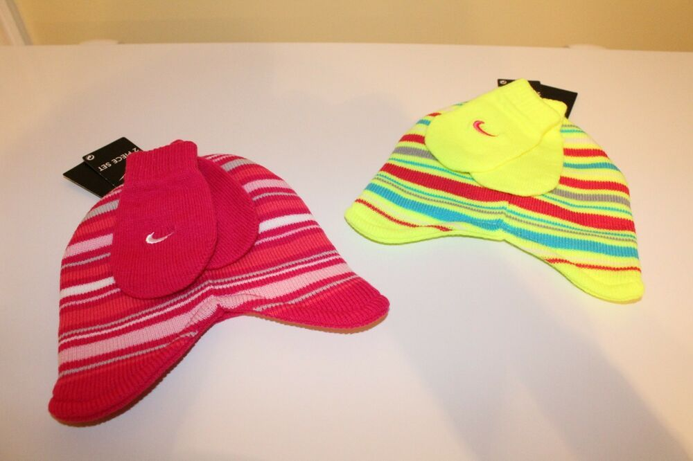 8b2941e3 NWT NIKE BABY GIRLS 2 PC STRIPED WINTER HAT & MITTENS PINK OR LIME ...