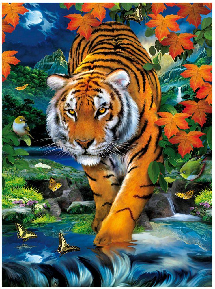 details zu clementoni puzzle m 3d effekt 1000 teile tiger auf der pirsch 39185 puzzles 3d. Black Bedroom Furniture Sets. Home Design Ideas