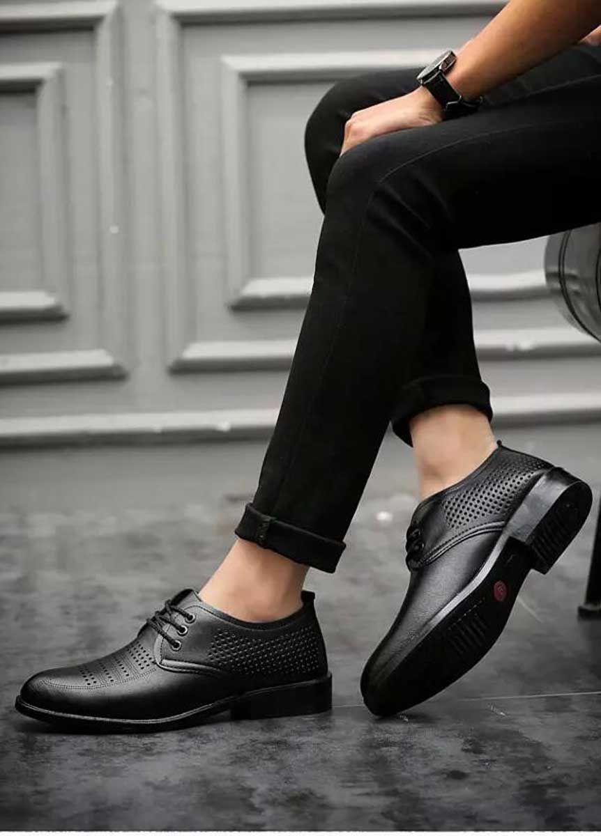 polka dot pattern derby dress shoe
