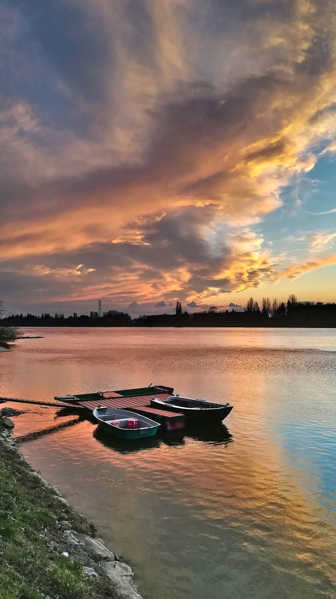 River Sunset Wallpaper For Android Mobile Phone Sunset Wallpaper Android Wallpaper Wallpaper
