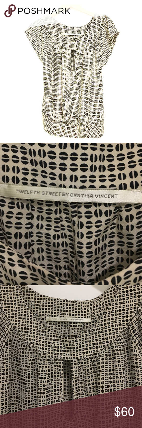 Silk top with key hole and geometric print Perfect condition Top by Twelfth Street by Cynthia Vincent Twelfth Street by Cynthia Vincent Tops Blouses
