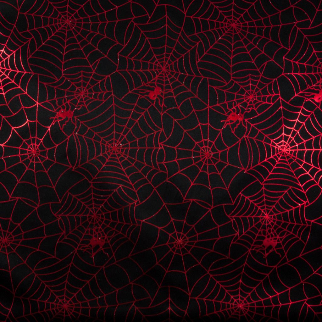 Red Spiders Web On Black Foil Print Black Foil Print Foil Print Spider Web