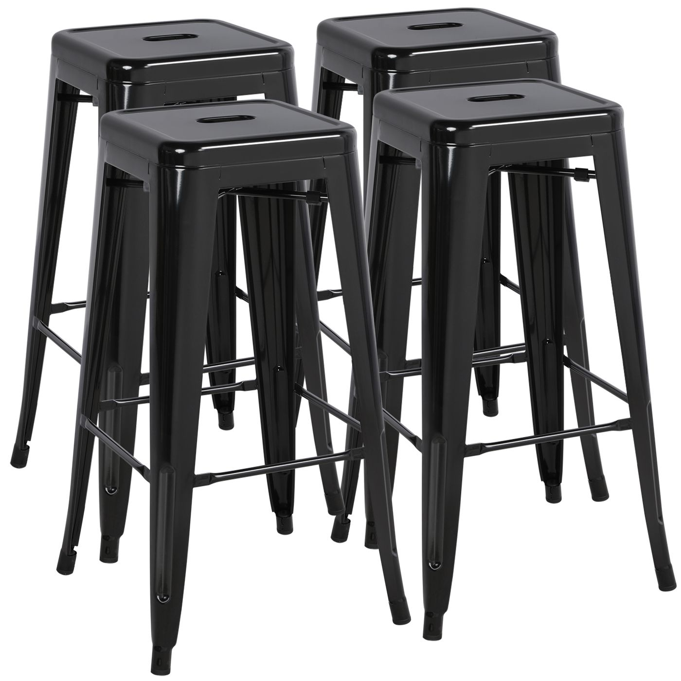 Easyfashion 30 High Stackable Metal Bar Stools Kitchen Dining Bar Chairs Backless Set Of 4 Counter Stool Black Walmart Com In 2020 Metal Bar Stools Kitchen Bar Stools Metal Bar Stools