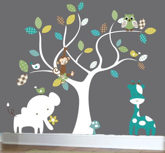 Nursery Jungle Decal Set Tree Wall Decal Jungle Animal Wall Decals Patterned Wall Decals Childrens Wall Decals