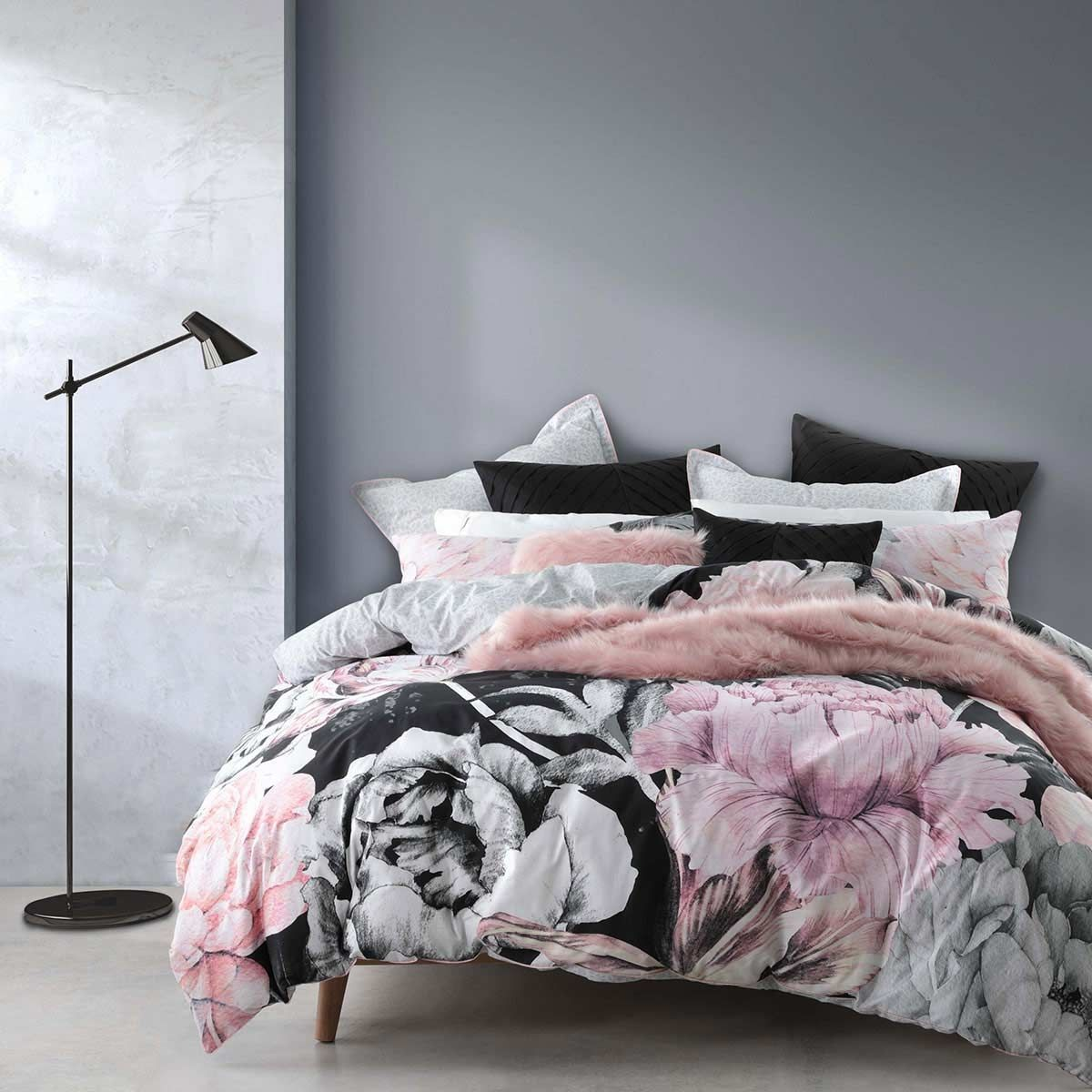 Carmen Musk Pink Floral Quilt Cover Set By Logan & Mason
