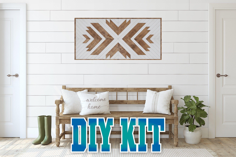 Diy kit geometric wood wall art rustic wood panel wall