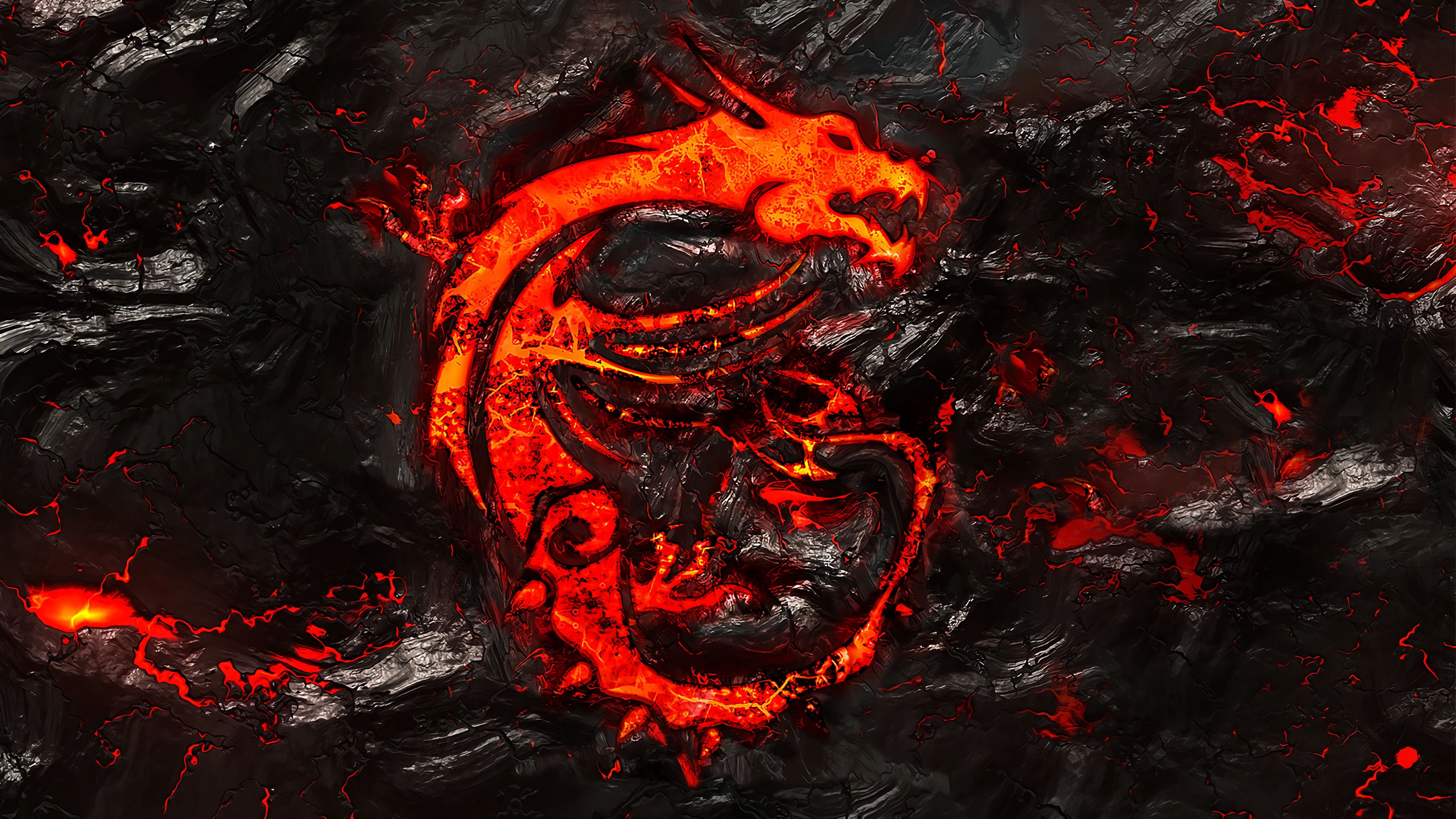 Descargar Mejores Fondos 4k 2019: MSI Dragon Logo Burning Lava Background 4k Wallpaper