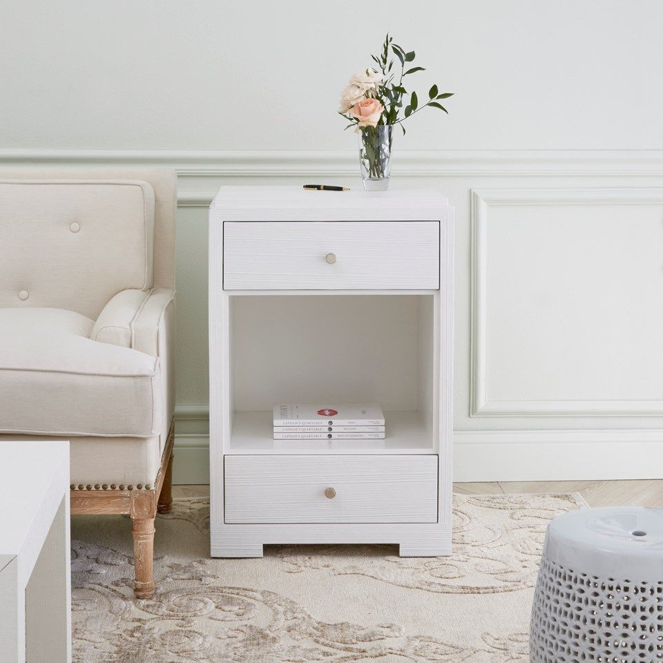Fedor drawer side table white bungalow ml shore bedrooms