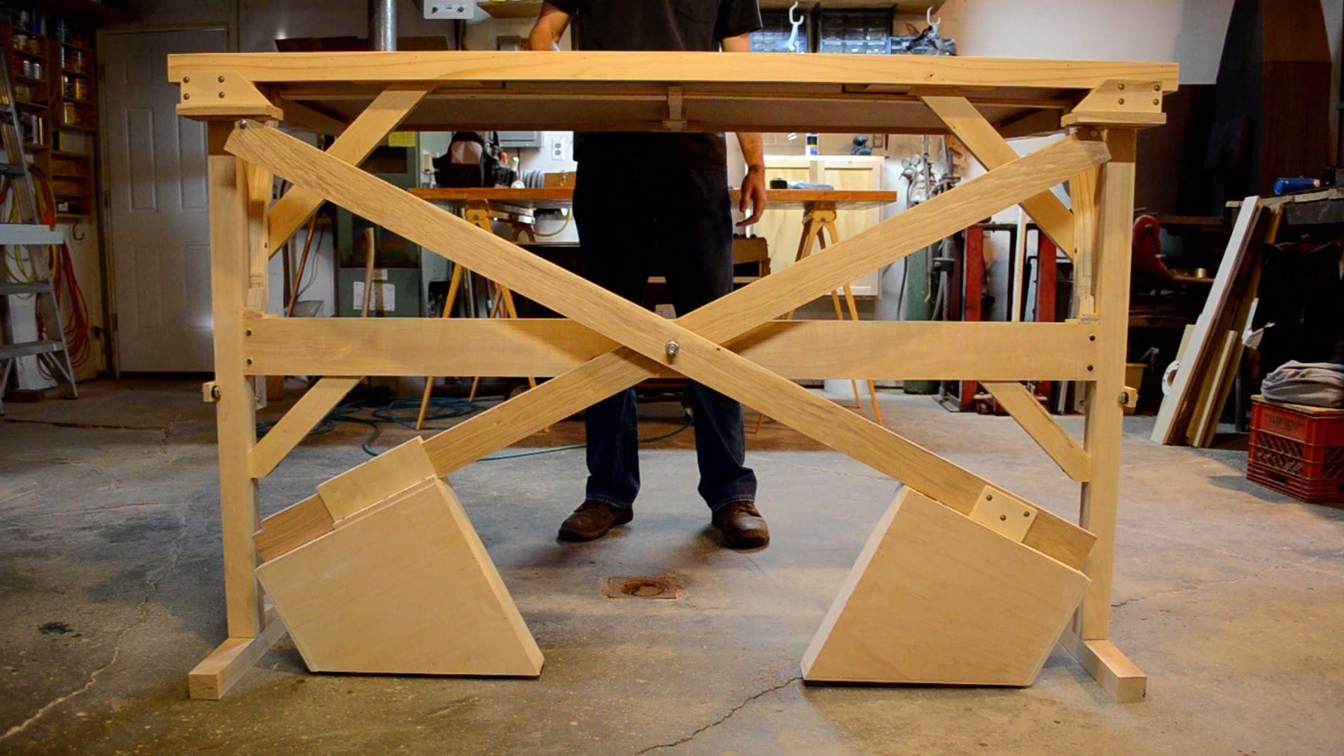 Wooden Counterweight Desk Or Table Diy Standing Desk Standing