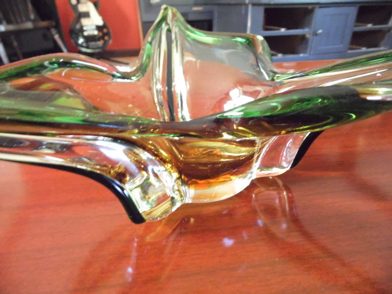 Large Glass Decorative Bowls Large Midcentury Modern Green And Amber Italian Style Art Glass