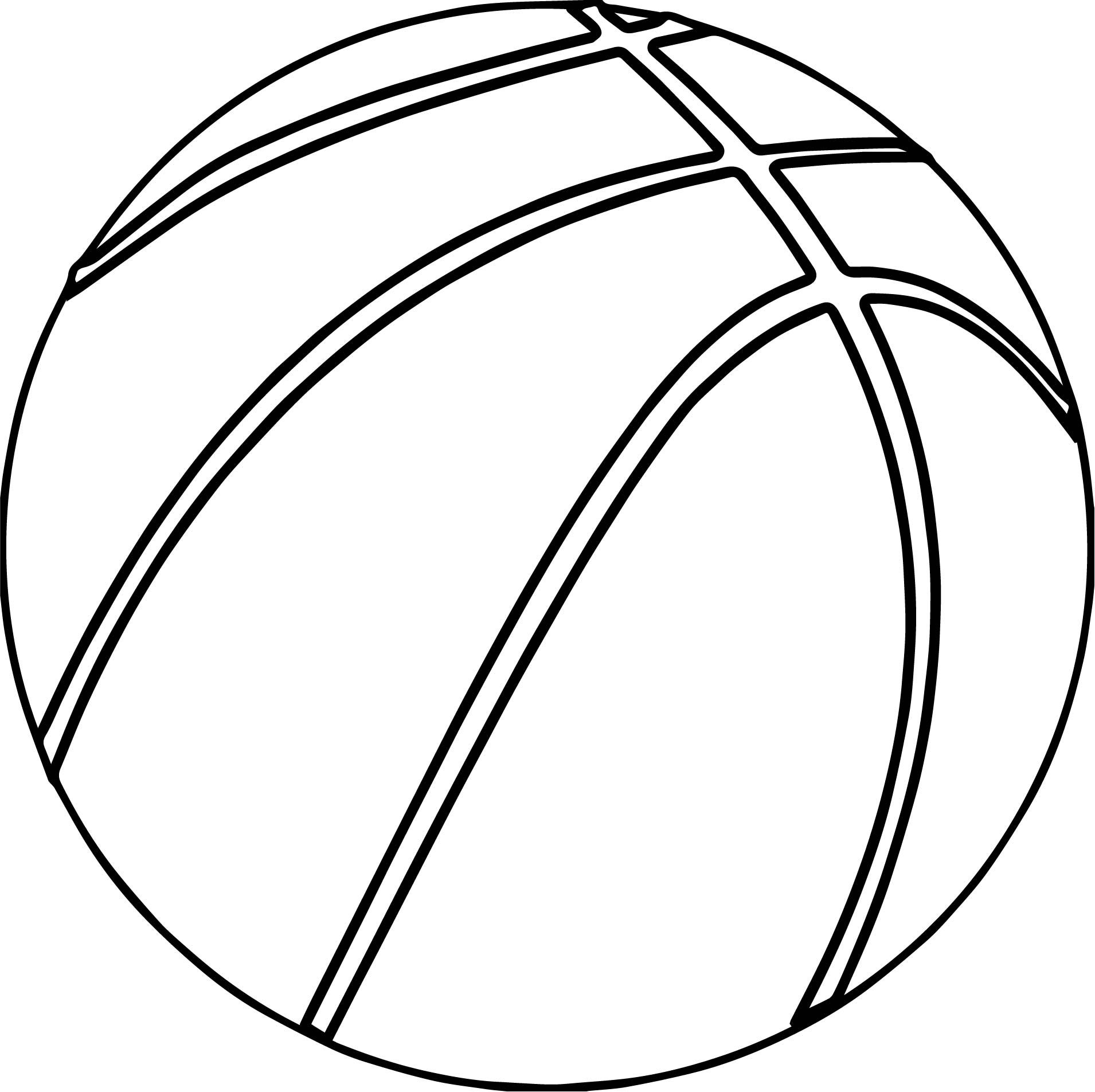 nice Basketball Ball Outline Coloring Page