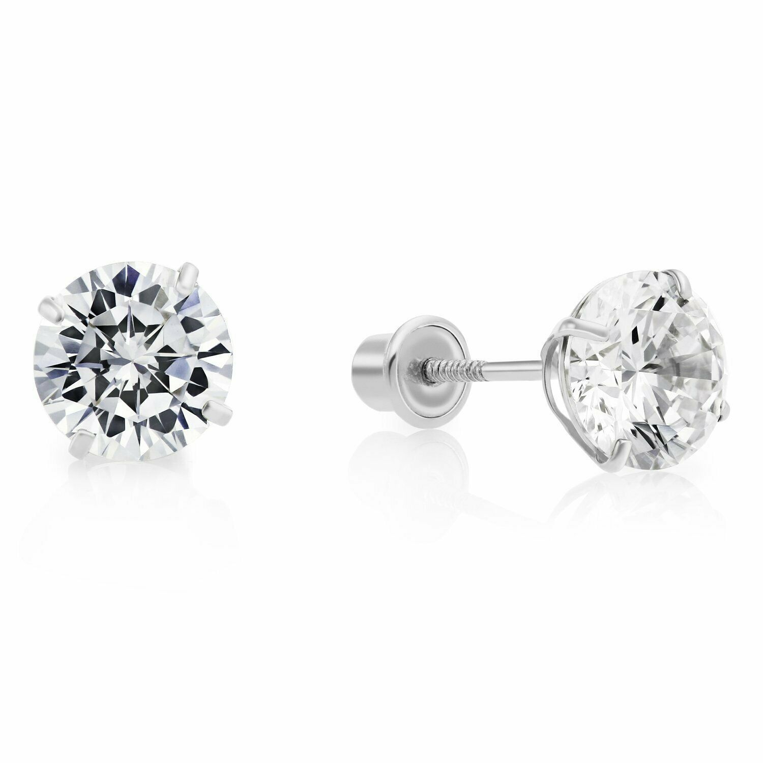 10k White Gold Filled Aaa Cz Studs White Gold Jewelry Earrings Jewelry