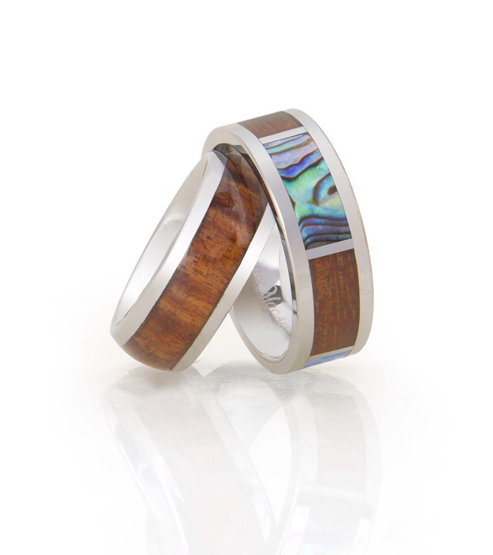 Koa eternity rings with big island koa and tungsten