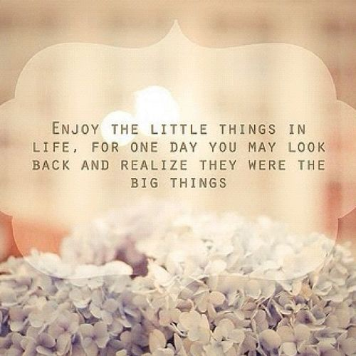 Enjoy The Little Things In Life, For One Day You May Look Back And Realize